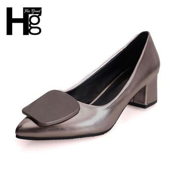 HEE GRAND Elegant Women's Pumps Fashion Pointed Toe Concise Design Low Square Heel Sho