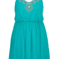 Plus Size - Embroidered Front Gauze Dress - Aqua Crush