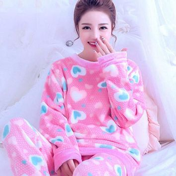 DCCKL3Z Autumn Winter Women Pajamas Coral Fleece Sleepwear Warm Bathrobe Nightgowns Kimono Pyjamas