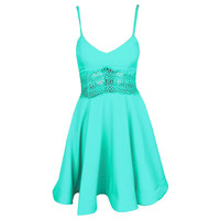 Green Strappy Crochet Waist Skater Dress