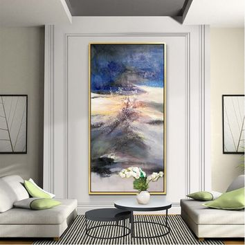 Abstract painting acrylic blue landscape painting on canvas huge size abstract color Painting Wall Art Pictures for living room Hand Painted