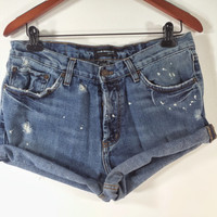 High Waisted Denim Shorts - Paint Splatter Jean Shorts - Size US 6 / 8