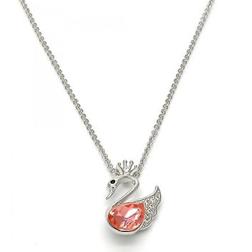 Gold Layered Fancy Necklace, Swan and Crown Design, with Swarovski Crystals and Micro Pave, Rhodium Tone
