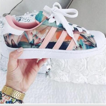 """Adidas"" Fashion Shell-toe Flats Sneakers Sport Shoes Print"