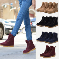 Womens Mens Genuine Leather Mid Calf Boots Snow Boots Warm Winter Lace Up Shoes lovers shoes # lcmqstore