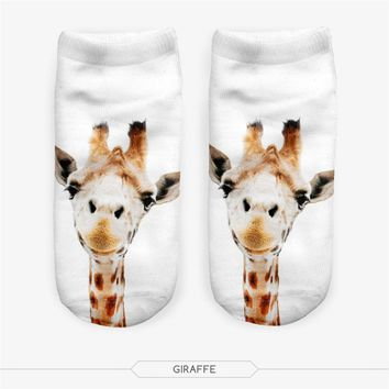 Funny Animal Giraffe Low Cut Ankle Socks Funny Crazy Cool Novelty Cute Fun Funky Colorful