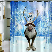 "olaf frozen curtain by holidayshowercurtain size 36"" x 72"", 48"" x 72"", 60"" x 72"" , 66"" x 72"""