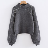 Autumn And Winter Fashion New More Pearl Long Sleeve Top Sweater Women Gray