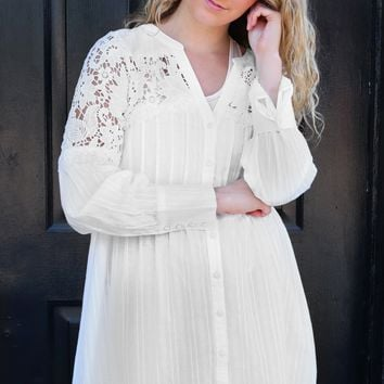 Lace Shoulder Dress - Ivory by POL Clothing