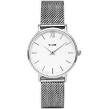 DCCKJY6X CLUSE Minuit Round 33mm Analog Display Quartz Women's Watch, Stainless Steel Mesh Band