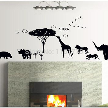 Africa Animal Wall Stickers for Kids Rooms