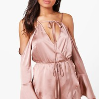 Zena Wrap Front Fluted Sleeve Playsuit | Boohoo
