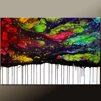 Abstract Canvas Art Painting Canvas 36x24 Original Modern Contemporary Paintings by Destiny Womack - dWo - The Sky is Falling