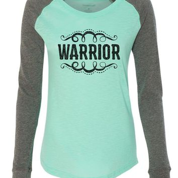 "Womens ""Warrior"" Long Sleeve Elbow Patch Contrast Shirt"