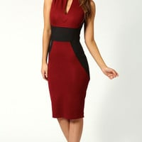 Red And Black Round Split Neck Sleeveless Midi Pencil Dress