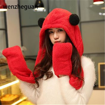 Womens panda hat fur hood scarf Mens Hat Ear Flaps Hand Pockets Hat Panda Plush Winter Warm Cap with Long Scarf Mittens Gloves