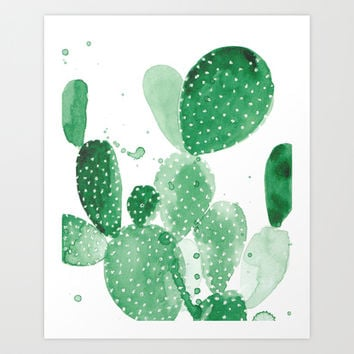 Green Paddle Cactus Art Print by THE AESTATE