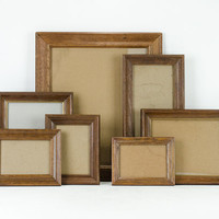 Vintage Wood Frame Set / Frame Gallery Collection  / Set of 7 With Glass
