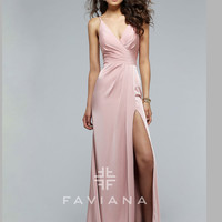 Faviana 7755 V-Neckline Formal Prom Gown