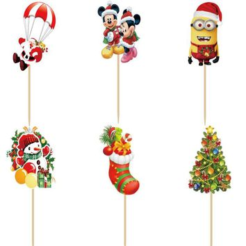 24pcs Mickey Minnie Christmas series cake Topper Picks birthday party decorations kids Party supplies decoration fiestas