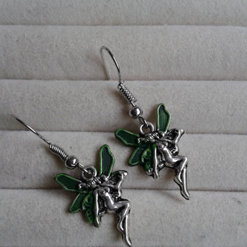 Closing sale -fantasy green  fairy  silvertone  dangle earrings