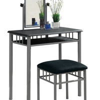Black / Silver Metal 2Pcs Vanity Set