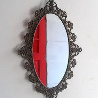 Ornate Oval Mirror in Vintage Italian Brass Frame - 20 by 13 inches