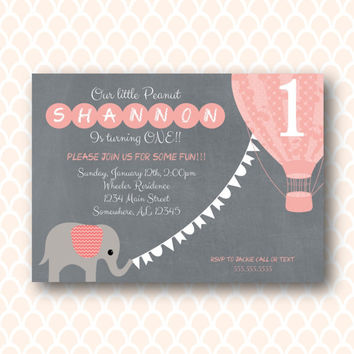 Pink & Gray elephant hot air balloon Birthday Invitation Digital Printable Invitation. Girl Birthday.  Up Up and Away Invitation. DIY Invite