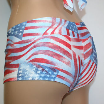 Cheeky Booty Shorts July 4th - ALL SIZES Patriotic, Swimwear, Bathing Suit, USA, American Flag, Stars and Stripes, July Fourth, Festival