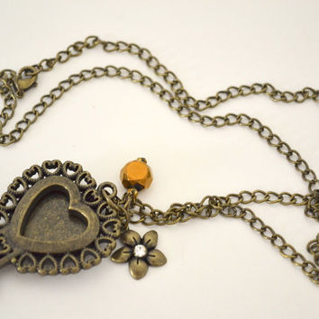 Key to Your Heart Necklace, Steampunk Necklace, Shabby Chic Necklace, Heart Key Necklace, Steampunk Locket, Key Locket, Steampunk Jewelry