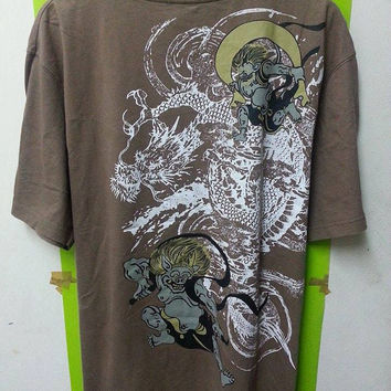 Rare Vintage Blue Point Style SUKAJAN Dragon And Ghost Designer T-Shirts