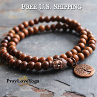 Red Copper Buddha Wrap Bracelet Tree of Life Bracelet Bayong Wood Unisex Bracelet Mens Bracelet Beaded Stacking Stackable Bracelet Gifts