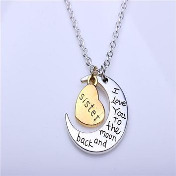 hand stamped i love you to the moon and back charm necklace silver gold sister gift box  number 1