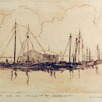 Pensecola Marina By Maud Work Etching