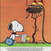 1985 Color Magazine Ad for Metropolitan Life featuring Charles Schulz Peanuts' Snoopy Character