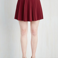 Scholastic Short Length A-line Accordion to You Skirt in Burgundy