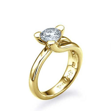 Yellow Gold Tension Set Solitaire Engagement Ring 3 Prong - 1ct Diamond