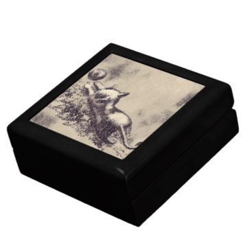 Keepsake/Jewelry Box - Kitten Playing with Ball Ceramic Tile Lid