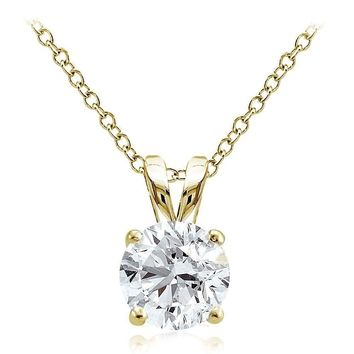 Gold Tone over Sterling Silver 2ct Cubic Zirconia 8mm Round Solitaire Necklace