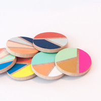 hand painted geometric pattern brooches - multi color - painted wood
