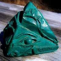 Eye of Udjat Lotus Blossom Solid Malachite Hand Carved Egyptian Pyramid Statue Decor