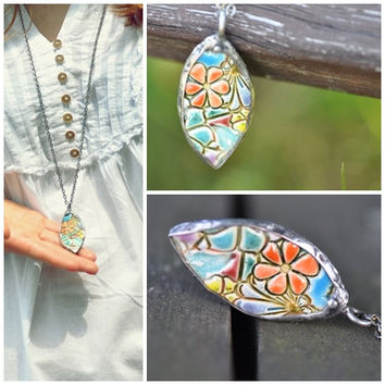 colorful spring ceramic jewelry flower relief unique necklace  double-sided necklace multicolor  necklace ceramic gift for her  zolanna