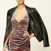 Crushed Velvet Surplice Dress