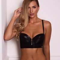 Playboy Bunny Bustier Long Line Push Up Bra - Black