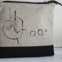 Natural Linen Clutch Bag Urban Glam Hand Painted