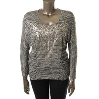Style & Co Womens Plus Empire State Ruched Knit Pullover Top
