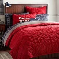 Finley Solid Quilt + Sham, Red