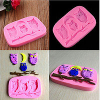 Silicone 3D Owl Fondant Mould Cake Decor DIY Candy Baking Chocolate Soap Mold