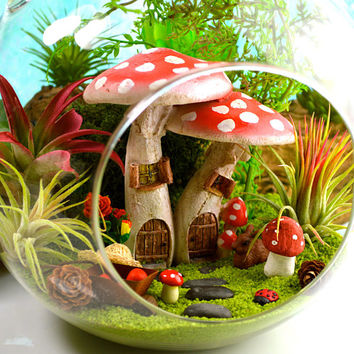 "NEW Mushroom Garden Kit ~ Fairy Gardens ~ 7"" Air Plant Terrarium Kit ~ Mushroom House ~ Spring Garden ~ Sand Choice ~ Miniature Gardens"
