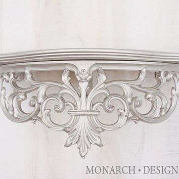 Silver Ornate Wall Shelf, Baroque Shabby Chic Scroll Design Vintage Wall Decor